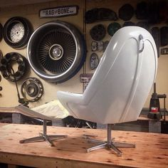 beetle hood chair Garage, ideas, man cave, workshop, organization, organize, home, house, indoor, storage, woodwork, design, tool, mechanic, auto, shelving, car.
