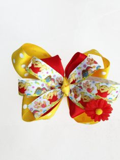 Winnie the Pooh Girls Stacked Daisy Yellow Polka Dots Red Hair Bow Clip by YoungSparkleandShine on Etsy