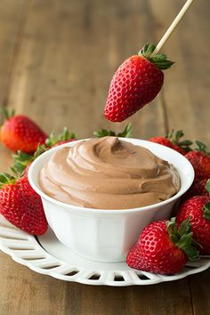 Nutella Cheesecake Dip.  I repeat: Nutella. Cheesecake. Dip.  You serve it with fruit, so it's a healthy dessert.  Right??