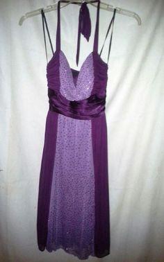 CITY STUDIO Cocktail Halter Sequin Evening DRESS JUNIORS Sz S Deep PURPLE Sparkl #CityStudio #EmpireWaist #Purple #Sequin #Mini #Dress