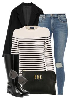 """""""Stripes"""" by mimicdesign ❤ liked on Polyvore featuring Frame, Saint James, Rupert Sanderson, Gentle Monster, black, stripe and everyday"""