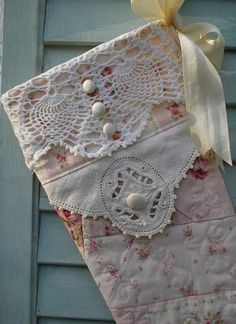 Reserved for Kristen - Pink Christmas Stocking, Quilted Rose Patchwork, Shabby Chic, Vintage Crochet and Embellishments