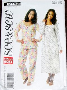 """Easy Sewing Pattern Butterick See & Sew 5667 Two Piece Pajamas Top Bottom Long Nightgown Women Miss Size XS-XXL 4-26 Bust 29""""-48"""" Uncut FF by RosesPatternsEtc on Etsy"""