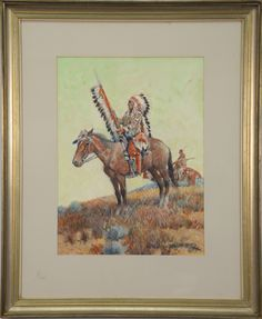 "NICK EGGENHOFER (1897-1985)  Indian Chief on Horseback  gouache on board  signed lower right N. Eggenhofer  sight size 15 1/4"" x 11 1/2"""