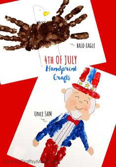 This Independence Day, check out our of July Handprint Crafts based on classic American icons - Uncle Sam and the Bald Eagle! Craft Projects For Kids, Crafts For Kids To Make, Art For Kids, Art Projects, School Projects, Patriotic Crafts, Patriotic Decorations, Kid Friendly Art, American Flag Crafts
