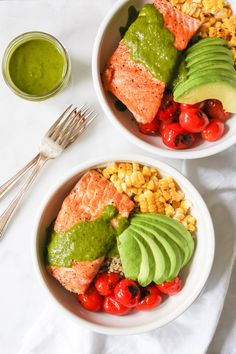 Summer Quinoa Bowl with Grilled Salmon and Basil Vinaigrette via www.domesticate-me.com w/@peapoddelivers
