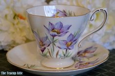Vintage Royal Grafton Manitoba Crocus teacup and saucer set, English Bone China, Porcelain Teacup, Tea Party, Afternoon Tea,  ca. 1957