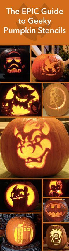 The Epic Guide to Geeky Pumpkin Stencils. #halloween #pumpkins #pumpkinstencils