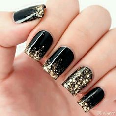 Black polish and gold glitter