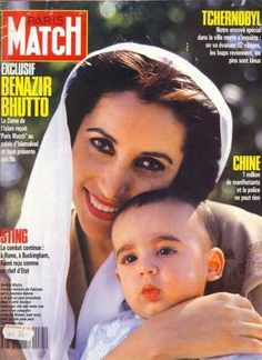 Benazir Bhutto with her son Bilawal Bhutto Zardari on the cover of Paris Match
