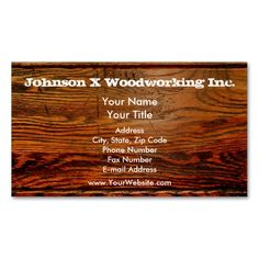 Faux Oiled Wood Plank Personalized Custom Business Card. This great business card design is available for customization. All text style, colors, sizes can be modified to fit your needs. Just click the image to learn more!