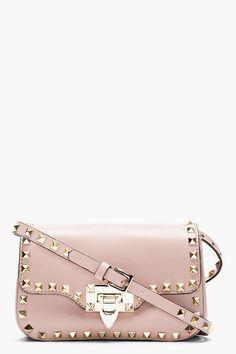 Valentino Nude Leather Rockstud Shoulder Bag