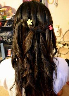Beautiful waterfall braided hairstyle