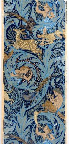 Walter Crane wallpaper design, Woodnotes