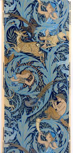 Walter Crane wallpaper design, Woodnotes