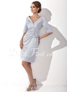 Sheath V-neck Knee-Length Charmeuse Mother of the Bride Dresses With Ruffle (008005627)