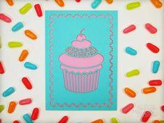 Laser Cut Aqua Cupcake Card from Alexis Mattox Design
