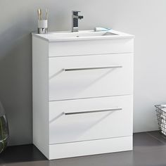 Orchard Derwent white floorstanding vanity drawer unit and ceramic basin Bathroom Sink Storage, Bathroom Vanity Makeover, Best Bathroom Vanities, Wood Bathroom, Bathroom Wall Decor, Bathroom Furniture, Bathroom Ideas, Furniture Vanity, Boden