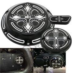 Black CNC Aluminum Dark Fashion Cross Derby Timing Timer Cover Ornamental Guard for Harley Davidson Sportster Iron XL 883 1200