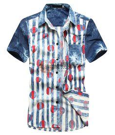2013新款短袖条纹波点拼色修身牛仔衬衫(蓝色黑点)-L码  USD $6.99