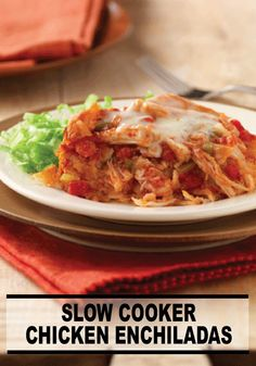 If you like layers of corn tortillas, spicy tomato sauce and chicken filling, try making this delicious Slow Cooker Chicken Enchilada recipe!