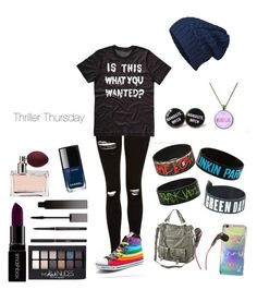 """""""thriller thursday"""" by mountaindewqueen15 ❤ liked on Polyvore featuring Topshop, cutekawaii, STINNE GORELL, Mossimo Supply Co., Smashbox, Maybelline, Yves Saint Laurent, Serge Lutens, Prada and Chanel"""