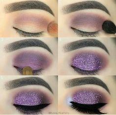 Makeup Tutorial Purple Glitter Eyeshadow … - Make up Gorgeous Makeup, Pretty Makeup, Love Makeup, Makeup Inspo, Beauty Makeup, Makeup Ideas, Makeup Kit, Smoke Eye Makeup, Purple Eye Makeup