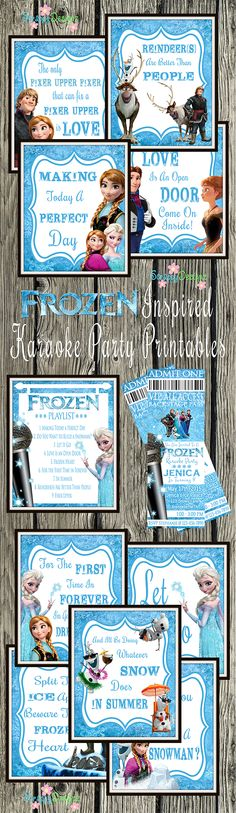 "Frozen Inspired Karaoke Party Printables - Includes (10) 8"" x 10"" posters, one from each song from the soundtrack and the newest single from Frozen Fever, plus a playlist featuring all the songs. Also included is a personalized music concert ticket style invitation. Perfect for a karaoke birthday party!"