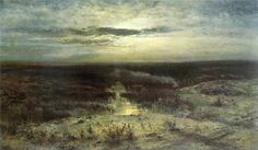 Marsh, 1870 by Aleksey Savrasov. Winter Landscape, Landscape Art, Landscape Paintings, Landscapes, Nocturne, Russian Landscape, Moonlight Painting, Russian Painting, Fantasy Paintings