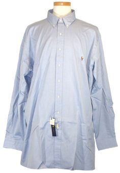 NEW Ralph Lauren Mens Polo Dress Shirt Button Front Blue Big Tall 18 36/37 $95 #RalphLauren