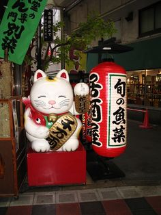 whimsicaldelirium: Maneki neko in Osaka outside of a Lantern shop.