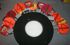 styrofoam shaped tire with lollipops