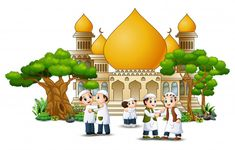 Happy Muslim Kids Cartoon in front of a mosque Dslr Background Images, Vector Background, Ramadan Activities, Islamic Cartoon, Islam For Kids, Picture Places, Plant Vector, Girly Drawings, Islamic Images