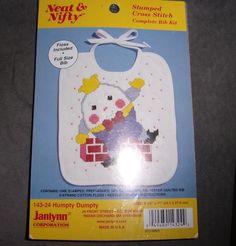 JANILYNN NEAT & NIFTY STAMPED CROSS STITCH COMPLETE BIB SET HUMPTY DUMPTY SEALED #Janlynn #BIB