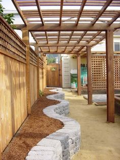 30 Creative Decorative Landscape Curbing Ideas Brenda Westy saved to Small Yard IdeasGreat outdoor idea for the back yard for vegies with pretty flowers without overtaking a small yard. Small Outdoor Patios, Small Pergola, Backyard Projects, Backyard Patio, Pergola Patio, Backyard Designs, Backyard Ideas, Cheap Pergola, Pergola Kits