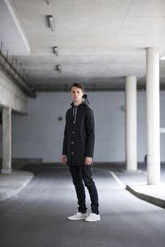 MARCEL FLORUSS  |  Rain Coat (Stutterheim) / Sweatshirt (Calvin Klein Jeans) / Jeans (Diesel Black & Gold) / Sneakers (Hugo Boss) / Shirt (Tiger of Sweden)