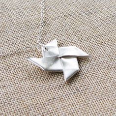 images of oragami jewelry | The Origami Windmill Necklace from Origami Bijou is folded by hand ...