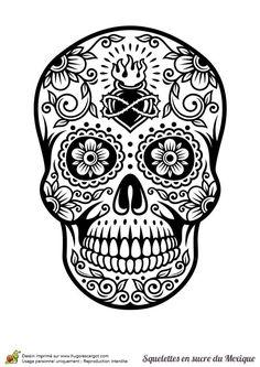 Coloriage crâne en sucre mexicain, cœur et fleurs - Hugolescargot.com Plus