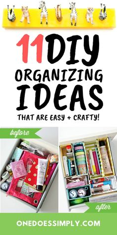 These easy DIY organization ideas are so easy and crafty! Try these ideas at home and make your home look a lot tidier and make things easy to access! Bedroom Organization Diy, Small Closet Organization, Household Organization, Home Organization Hacks, Planner Organization, Organizing Ideas, Diy Organizer, Family Organizer, Organizing Paperwork