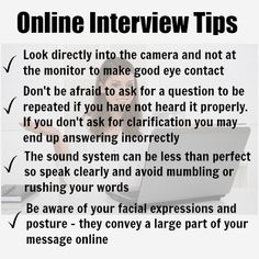 Be well prepared for online interview questions. How to enjoy a stress-free interview and make a great impression online. Winning online job interview tips. Job Interview Answers, Job Interview Preparation, Online Interview, Job Interviews, Job Resume, Resume Tips, Job Career, Career Advice, Resume Writing Tips