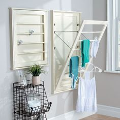 Wall-Mount Drying Racks – beautiful + functional and great for small laundry rooms. Or, if you have a craft room or sewing area, hang fabrics on one to keep them wrinkle-free.
