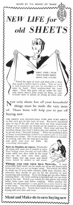 life for old sheets - Mend and Make do, resources were devoted to the war effort and everyone had to make things last. Old Sheets, Vintage Sheets, Vintage Ads, Vintage Sewing, Make Do And Mend, How To Make, Sewing Hacks, Sewing Projects, Vintage Housewife
