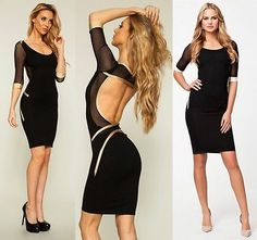 Lady Strappy Open Back Bandage Evening Cocktail Pencil Dress Bodycon @YM9097