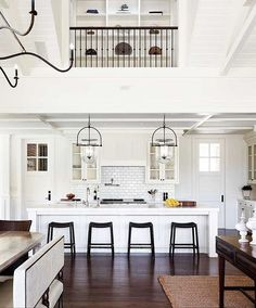 White Kitchen Interior Design With Modern Style 43 Home Design, Interior Design Kitchen, Kitchen Designs, Kitchen Ideas, Interior Modern, Scandinavian Interior, Kitchen Layout, Classic Kitchen, New Kitchen