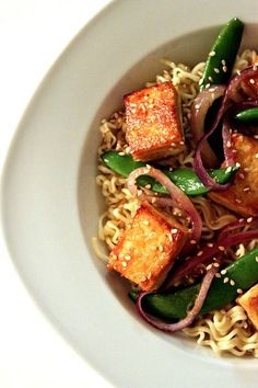 A little Crown Royal Maple brings this Sesame-Maple Roasted Tofu and Noodle dish to an unbelievable level!