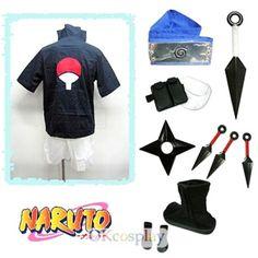Naruto Uchiha Sasuke Cosplay Costume Whole Set
