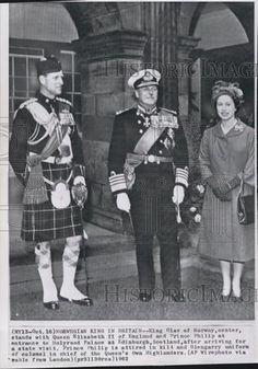1962 Press Photo King Olav Of Norway Visits Britain - Historic Images