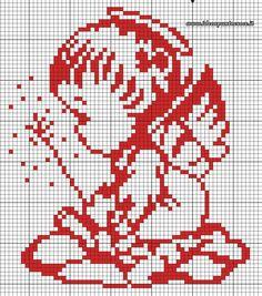 Angioletto Cross Stitch Angels, Xmas Cross Stitch, Cross Stitch Baby, Cross Stitching, Cross Stitch Embroidery, Cross Stitch Patterns, Bordado Popular, Knitting Patterns Free Dog, Graph Paper Art