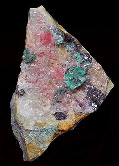 Rhodochrosite with Quartz, Tetrahedrite, and Malachite