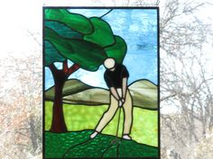 Stained Glass Panel  Golfer by DianeRinebold on Etsy, $118.00